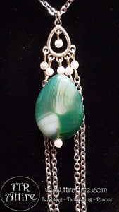 Tears of Jade Double Chain Necklace Charm