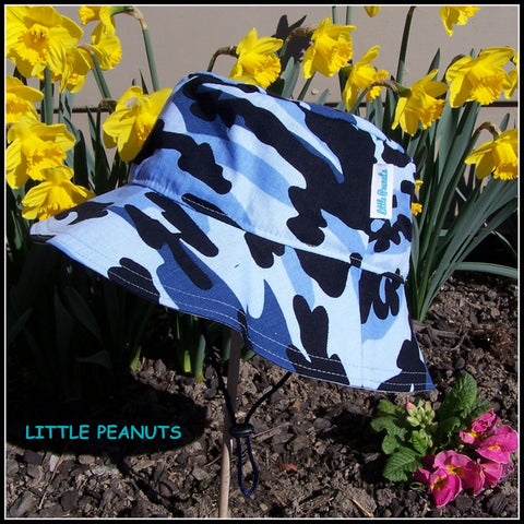 Camo blue child summer bucket sunhat