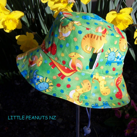 Lime dino child summer bucket sunhat