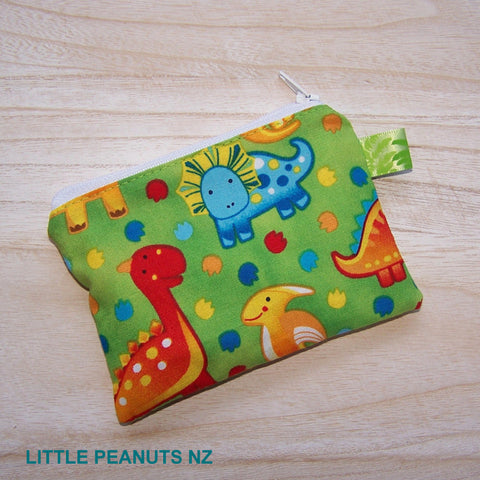 Coin/Card purse - Lime Dino