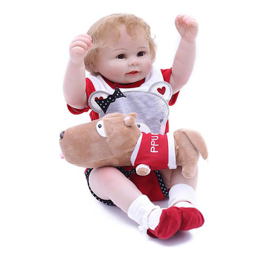 Reborn Baby Doll Lifelike Baby Silicone Girl Doll(I love Bear)