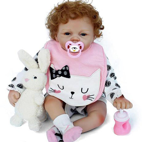 Reborn Baby Doll Lifelike Baby Silicone Doll(Curly kitten)