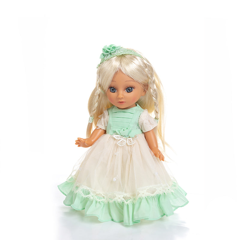 Adorable Girls Doll 12 Inch Fashion Princess Baby Green and White
