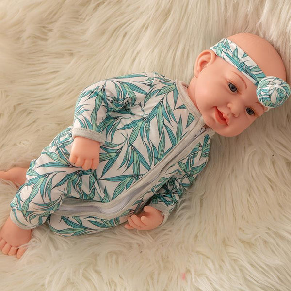 Newborn Baby Doll Silicone 18 Inch Soft Body Leaves Clothes