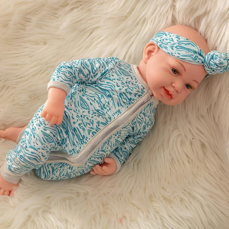Newborn Baby Doll Silicone 18 Inch Soft Body Blue Clothes