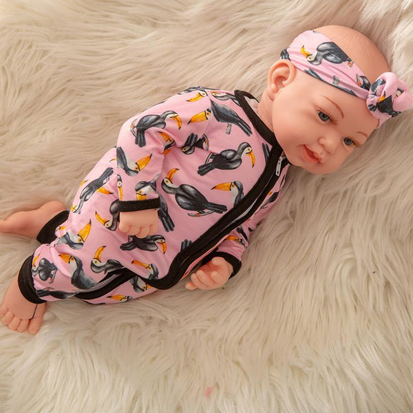 Newborn Baby Doll Silicone 18 Inch Soft Body Pink and Black Clothes