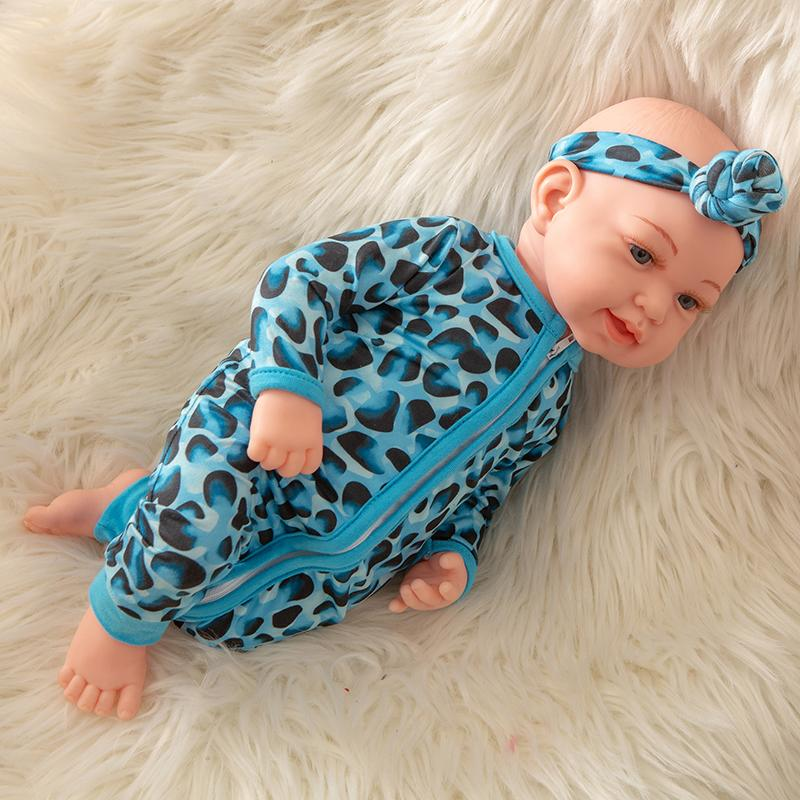 Newborn Baby Doll Silicone 18 Inch Soft Body Blue and Black Clothes