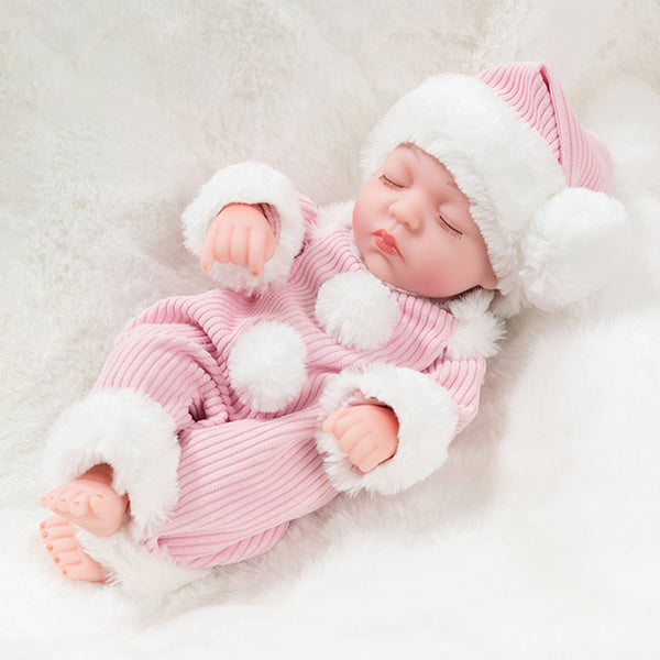 Newborn Baby Doll Silicone 10 Inch Soft Body Pink Winter Clothes