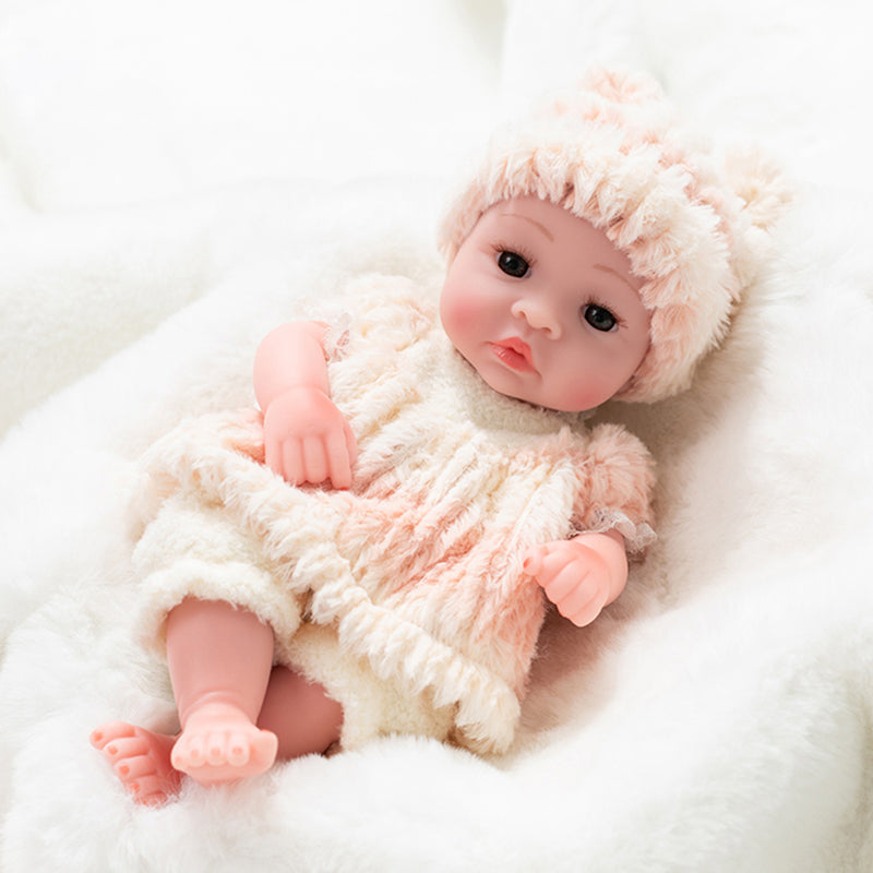 Newborn Baby Doll Silicone 10 Inch Soft Body with Pink Cute Hat