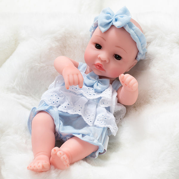 Newborn Baby Doll Silicone 10 Inch Soft Body Light Blue Clothes
