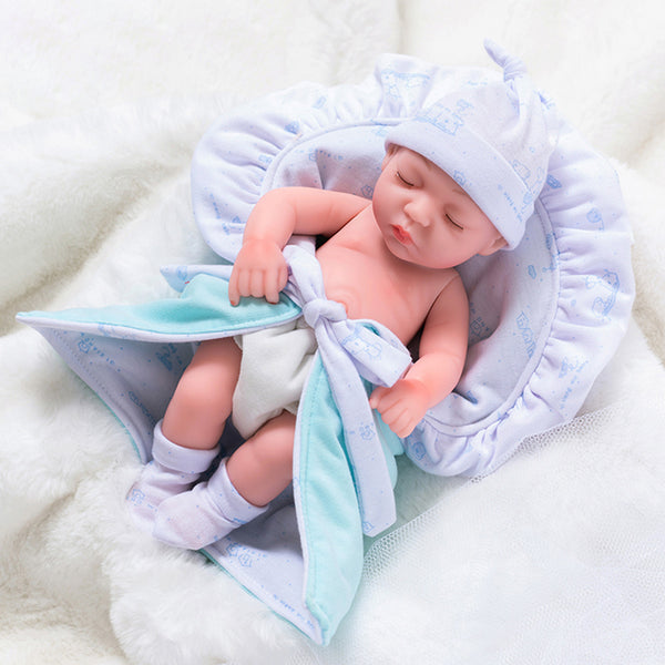Newborn Baby Doll Silicone 10 Inch Soft Body in Lake Blue Sleeping Clothes