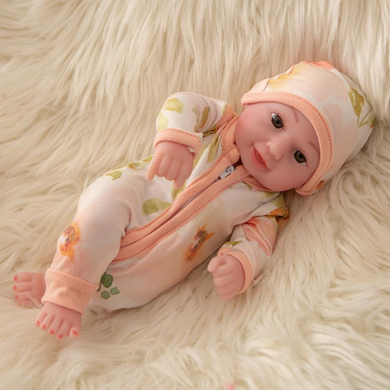 Newborn Baby Doll Silicone 10 Inch Soft Body in Flower Clothes