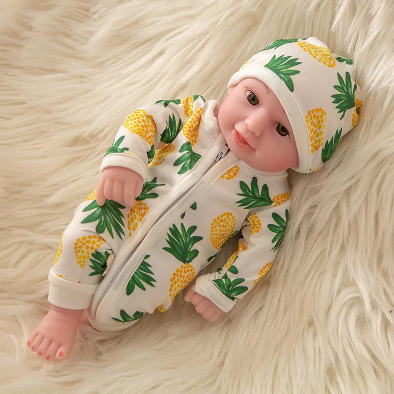 Newborn Baby Doll Silicone 10 Inch Soft Body with Pineapple Hat