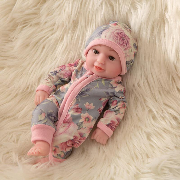 Newborn Baby Doll Silicone 10 Inch Soft Body in Pink and Grey