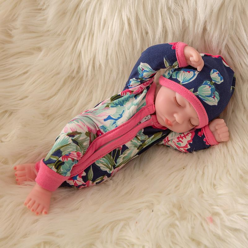 Newborn Baby Doll Silicone 10 Inch Soft Body in Pink and Dark Blue Clothes