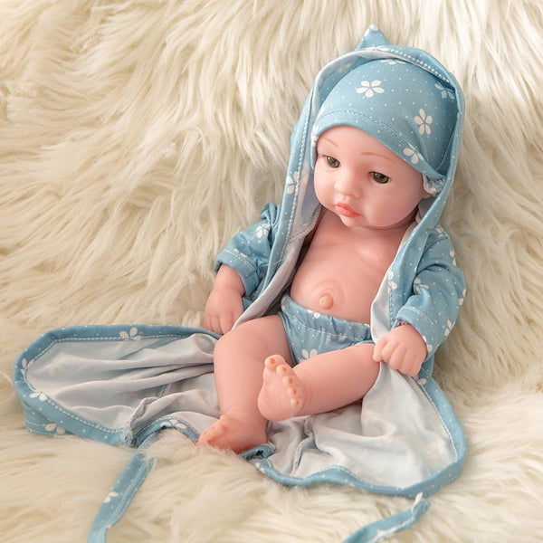 Newborn Baby Doll Silicone 10 Inch Soft Body in Blue Sleeping Clothes