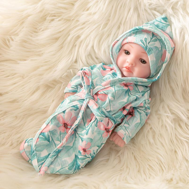 Newborn Baby Doll Silicone 10 Inch Soft Body in Flower Sleeping Clothes