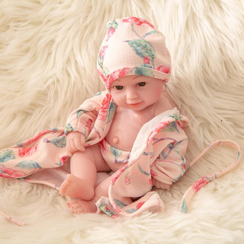 Newborn Baby Doll Silicone 10 Inch Soft Body in Pink Flower Sleeping Clothes