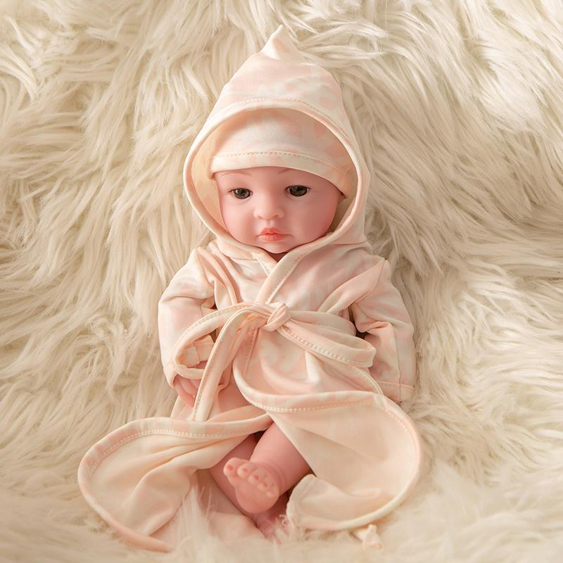 Newborn Baby Doll Silicone 10 Inch Soft Body in Snowflake Clothes