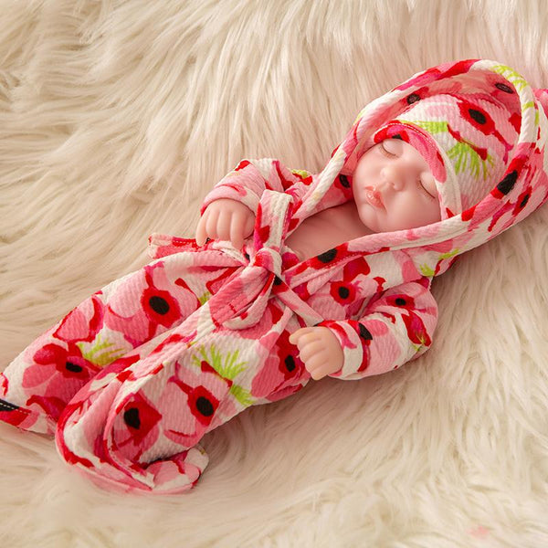 Newborn Baby Doll Silicone 10 Inch Soft Body in Big Flower Clothes