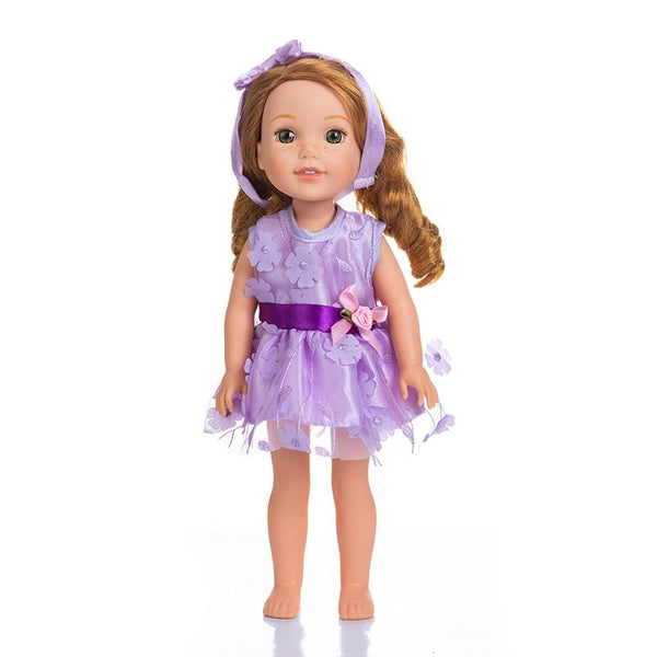Adorable Girls Doll 14 Inch Fashion Barbie Doll in Purple and Pink Flower Dress