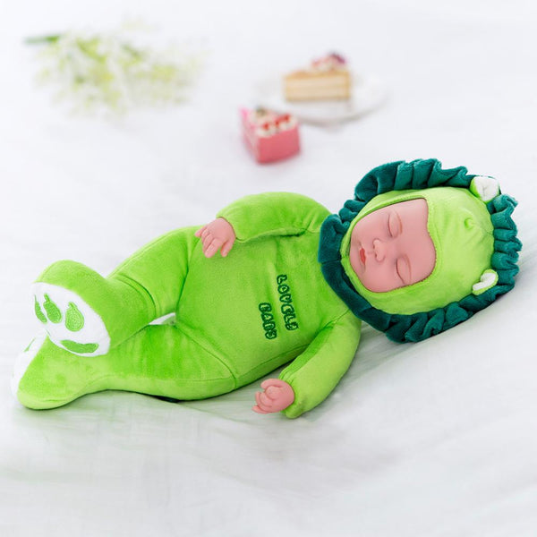 Green Lion Sleeping Baby Doll Newborn baby Soft Body