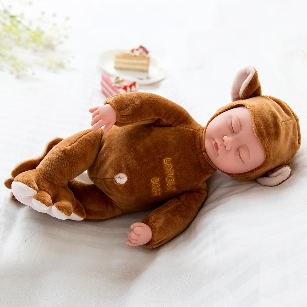 Brown Monkey Sleeping Baby Doll Newborn baby Soft Body