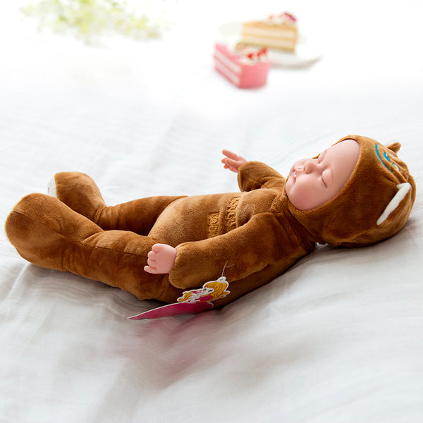 Brown Bear Sleeping Baby Doll Newborn baby Soft Body