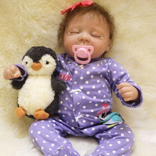 Reborn Baby Doll Lifelike Baby Silicone Doll(Miss Penguin)