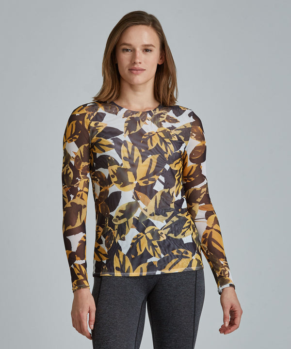 Emma Mesh Long Sleeve Tee - Autumn Leaves Autumn Leaves Emma Mesh Long Sleeve Top - Women's Activewear Long Sleeve Top by PRISMSPORT