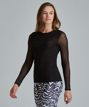 Emma Mesh Long Sleeve Tee - Black Black Emma Mesh Long Sleeve Top - Women's Activewear Long Sleeve Top by PRISMSPORT