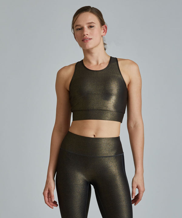Crop Bra Top - Black/ Gold Shimmer Black and Gold Shimmer Crop Bra Top - Women's Sports Bra by PRISMSPORT