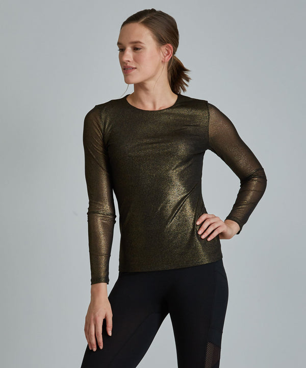 Emma Mesh Long Sleeve Tee - Black/ Gold Shimmer Black and Gold Shimmer Emma Mesh Long Sleeve Top - Women's Activewear Long Sleeve Top by PRISMSPORT