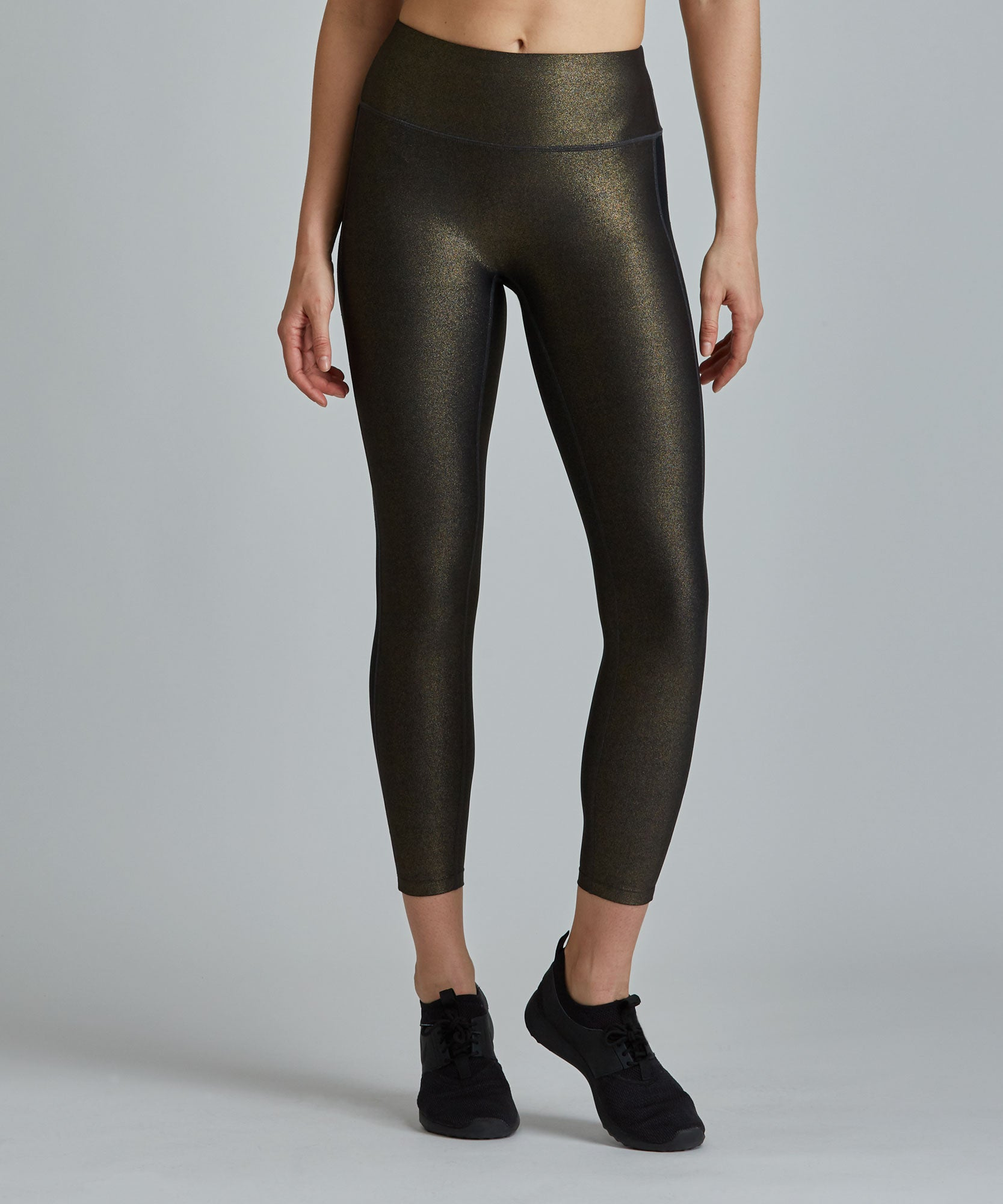 Hi-Waist Barre 7/8 Legging - Black/ Gold Shimmer