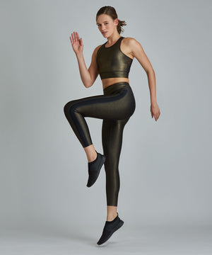 Hi-Waist Barre 7/8 Legging - Black/ Gold Shimmer Black and Gold Shimmer Hi-Waist Barre 7/8 Legging - Women's Yoga Legging by PRISMSPORT