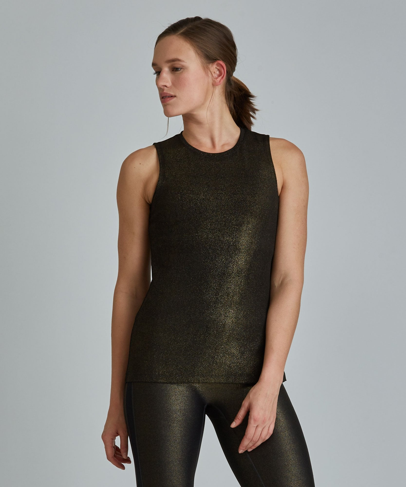 Muscle Tee - Black/ Gold Shimmer