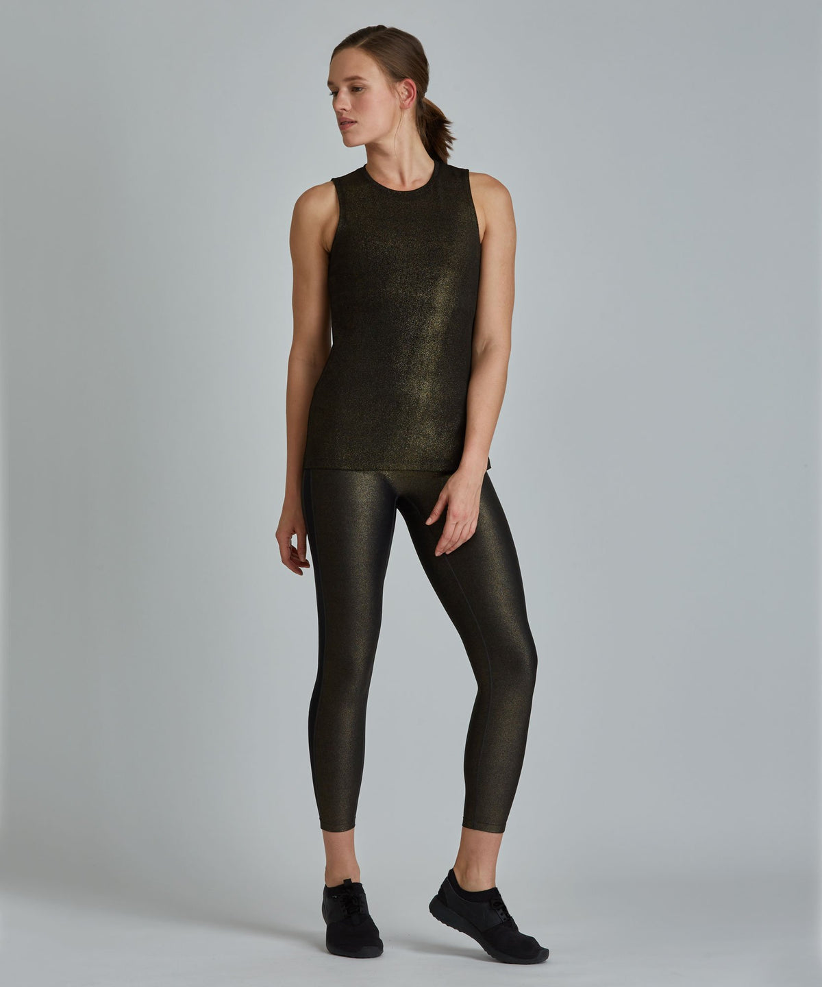 Muscle Tee - Black/ Gold Shimmer Black and Gold Shimmer Muscle Tee - Women's Activewear Tank Top by PRISMSPORT