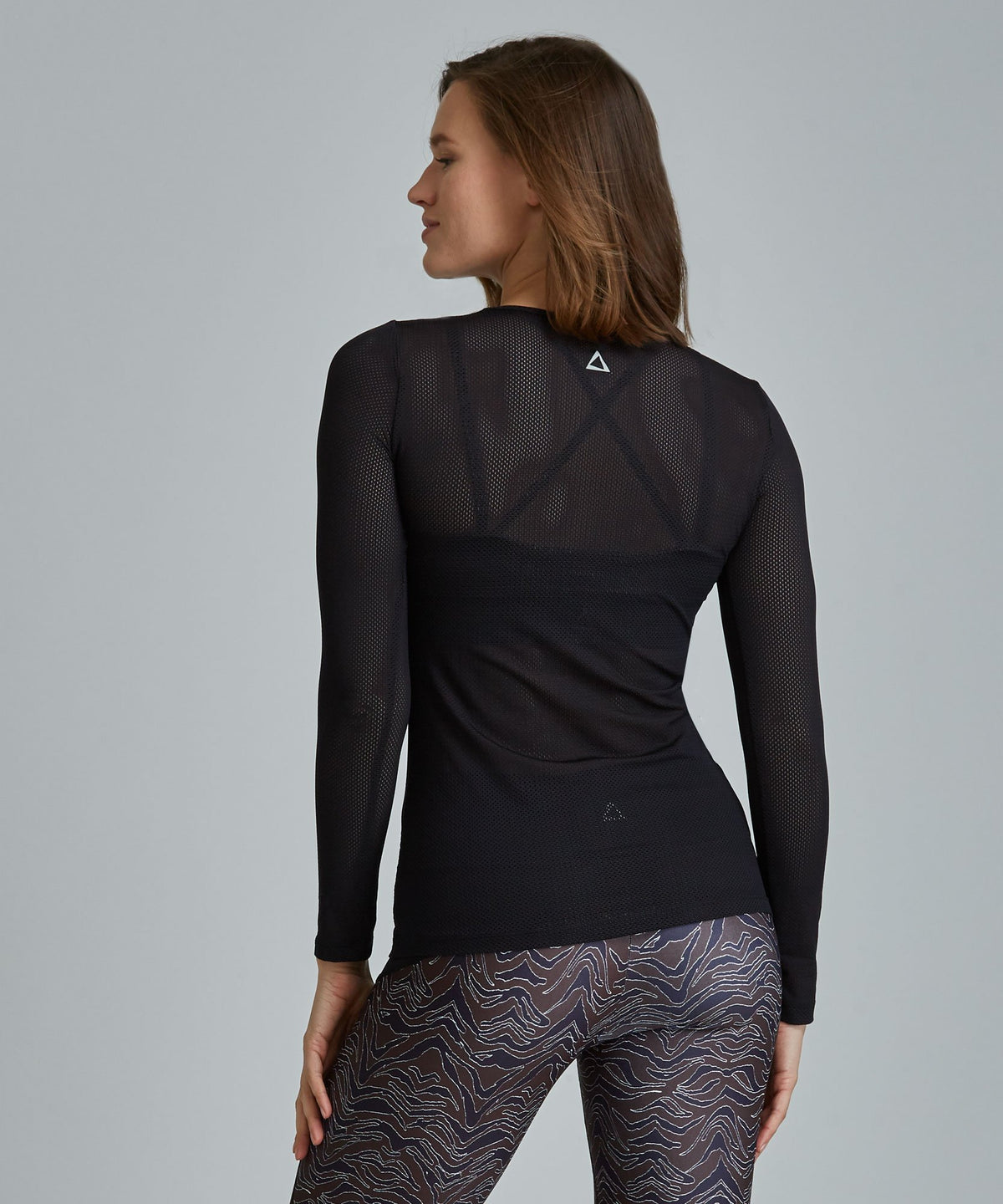 Laser Mesh Top - Black Black Laser Mesh Top - Women's Activewear Long Sleeve Top by PRISMSPORT