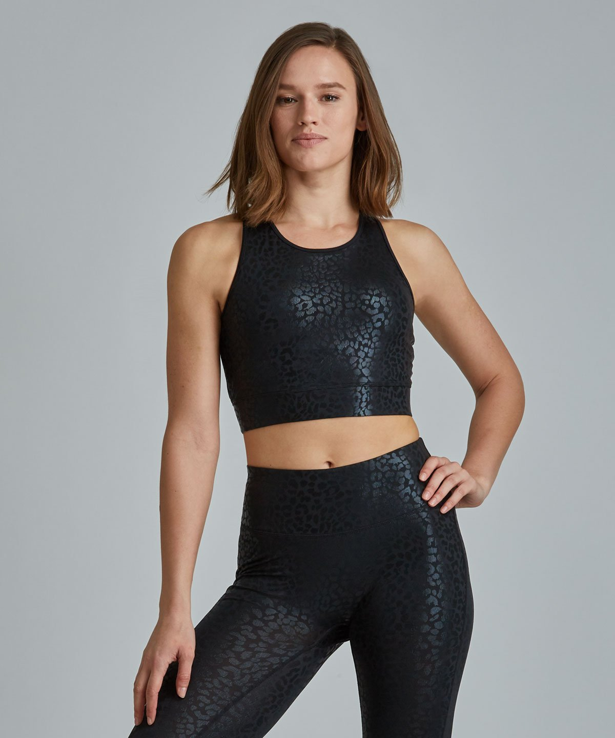 Crop Bra Top - Lynx Black Lynx Crop Bra Top - Women's Sports Bra by PRISMSPORT