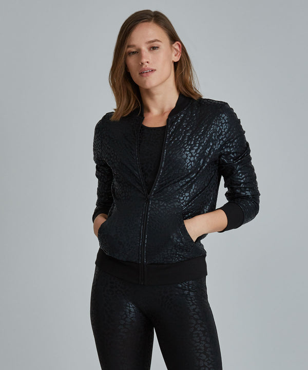Lindy Jacket - Lynx Black Lynx Lindy Bomber Jacket -Women's Activewear Jacket by PRISMSPORT