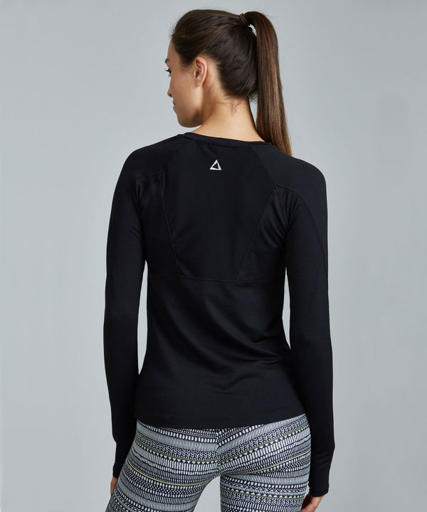 Run Top - Black Black Run Top - Women's Activewear Long Sleeve Top by PRISMSPORT