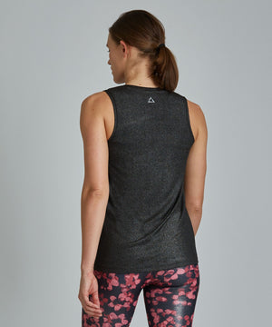 Muscle Tee - Black/ Silver Shimmer Black and Silver Shimmer Muscle Tee - Women's Activewear Tank Top by PRISMSPORT