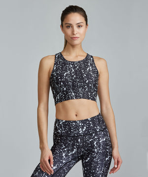 Crop Bra Top - Black Travertine Black Travertine Crop Bra Top - Women's Sports Bra by PRISMSPORT