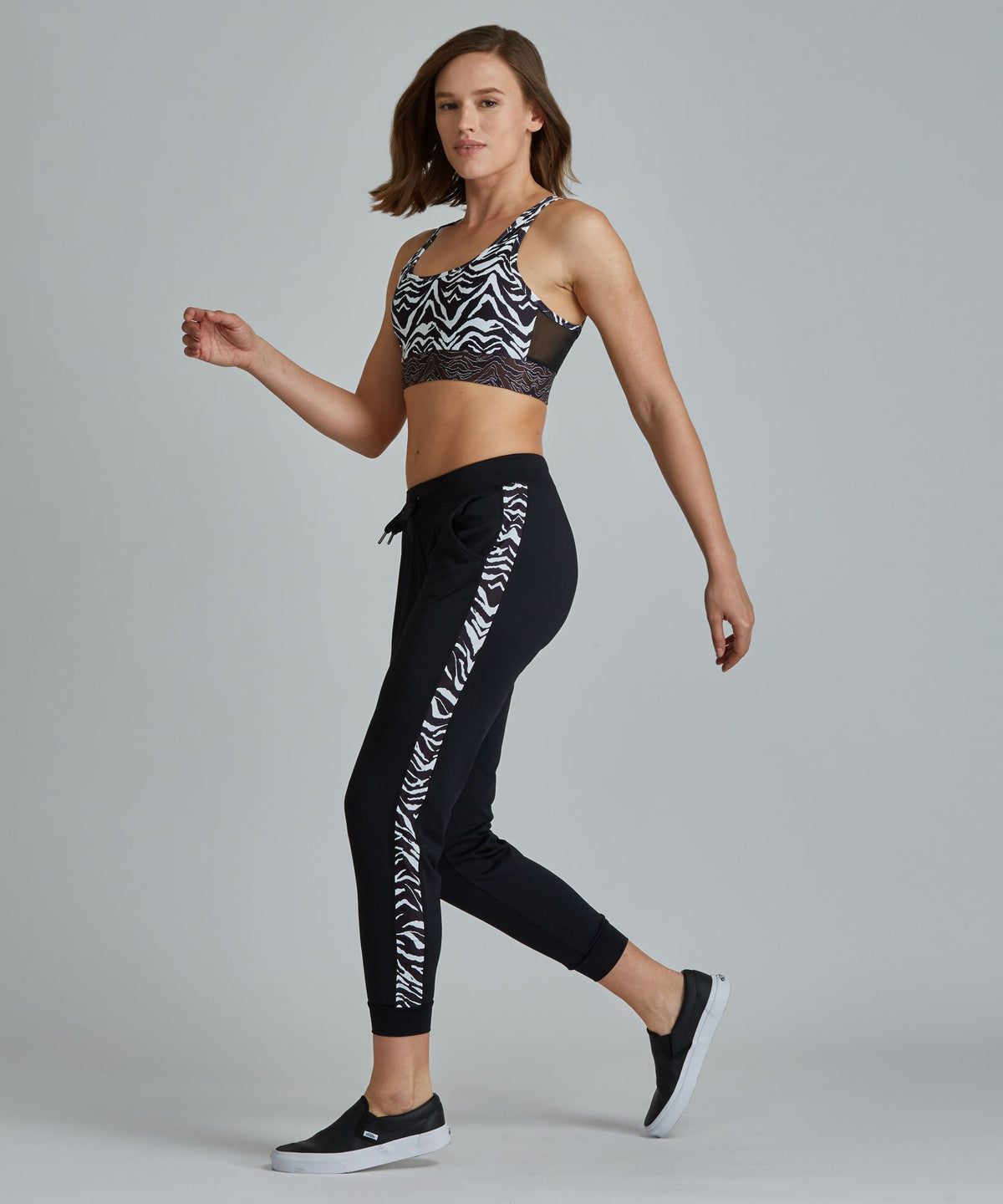 Urban Track Pant - Black/ Zebra Black and Zebra Urban Track Pant - Women's Activewear Pant by PRISMSPORT