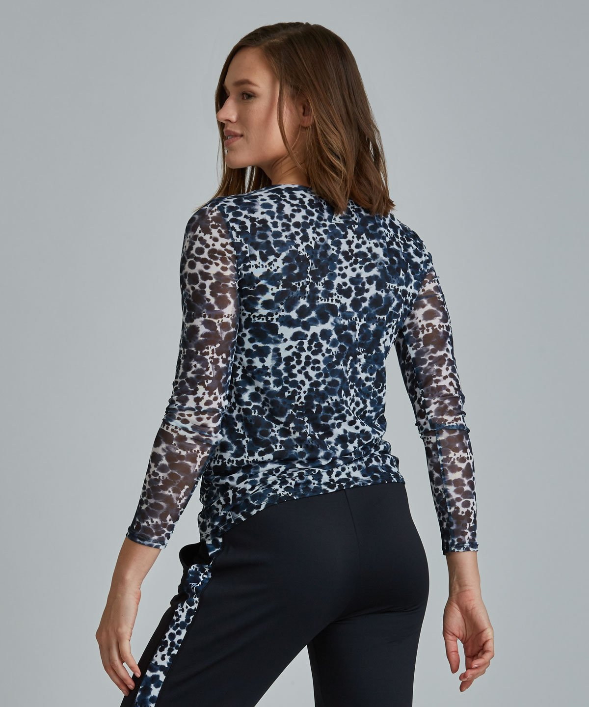 Emma Mesh Long Sleeve Tee - Leopard Blue Leopard Emma Mesh Long Sleeve Top - Women's Activewear Long Sleeve Top by PRISMSPORT