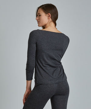 Catherine Wrap Top - Charcoal Heather Charcoal Heather Catherine Wrap Top - Women's Activewear Long Sleeve Top by PRISMSPORT