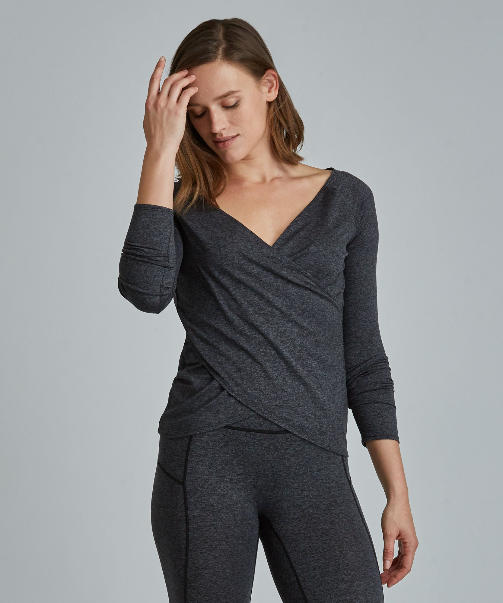 Catherine Wrap Top - Charcoal Heather