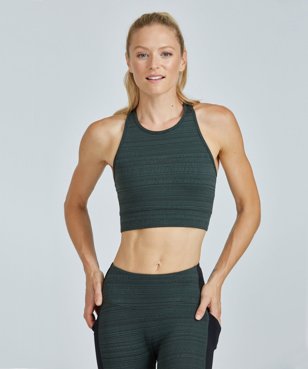 Crop Bra Top - Green Jacquard Green Jacquard Crop Bra Top - Women's Sports Bra by PRISMSPORT