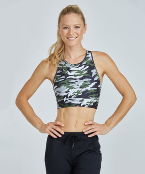 Crop Bra Top - Green Patton Green Patton Crop Bra Top - Women's Sports Bra by PRISMSPORT