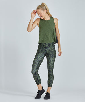 Hi-Waist Barre 7/8 Legging - Green Vines Green Vines Hi-Waist Barre 7/8 Legging - Women's Yoga Legging by PRISMSPORT